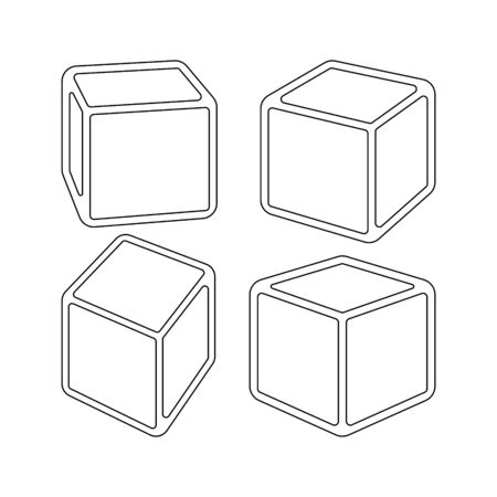 Set of three dimensional cubes. 3d model of a cube with perspective and rounded corners. Vector illustration Illustration