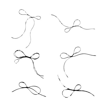 Set of thread scribble bows, double-looped knots. Black line abstract scrawl sketch. Chaotic doodle shapes.