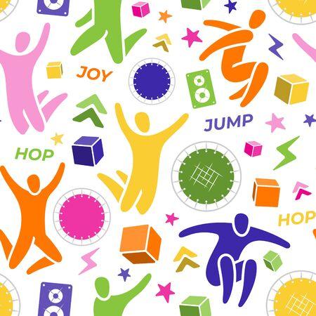 Seamless pattern. Set: jumping people, trampoline, speaker, foam cubes, lightning. Trampoline park concept. Ilustração