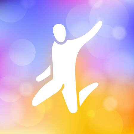 Vector illustration of jumping people. Body figure icon, sign. Trampoline park concept. Healthy active sport.
