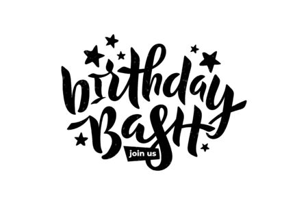 Birthday Bash Join Us text with stars for card, invitation. Lettering for birthday party, anniversary. Vector Çizim