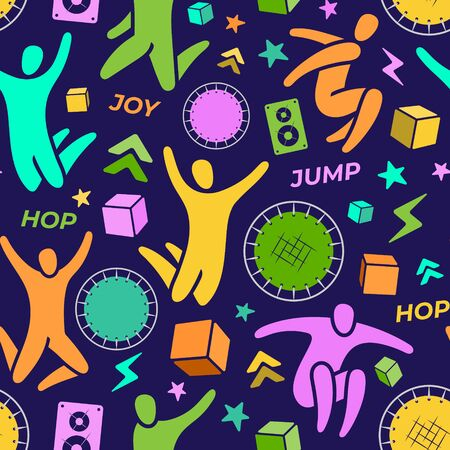 Repeating seamless pattern, swatch. Set of icons: jumping people, top view trampoline, sound speaker, foam rubber cubes, lightning, chevron. Trampoline, amusement park concept. Flat vector Ilustracja