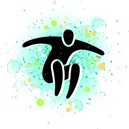 Vector illustration of jumping people, dance leap on watercolor background with paint spots. Man woman kid silhouette. Trampoline park concept. Healthy active sport. Bounce party decoration.