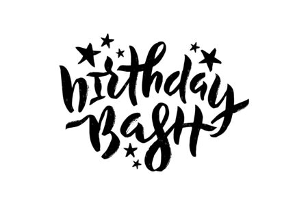 Vector stock illustration of Birthday Bash inscription with stars for greeting card, invitation. Brush pen lettering calligraphy for birthday party, anniversary. Isolated on white EPS 10
