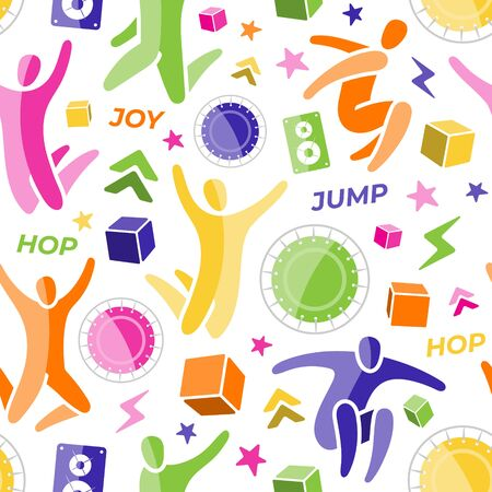 Repeating seamless pattern, swatch. Set of icons: jumping people, top view trampoline, sound speaker, foam rubber cubes, lightning, chevron. Trampoline, amusement park concept. Flat vector