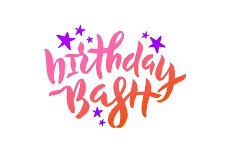Vector stock illustration of Birthday Bash inscription with violet stars for greeting card, invitation. Brush pen lettering calligraphy for birthday party, anniversary. EPS 10
