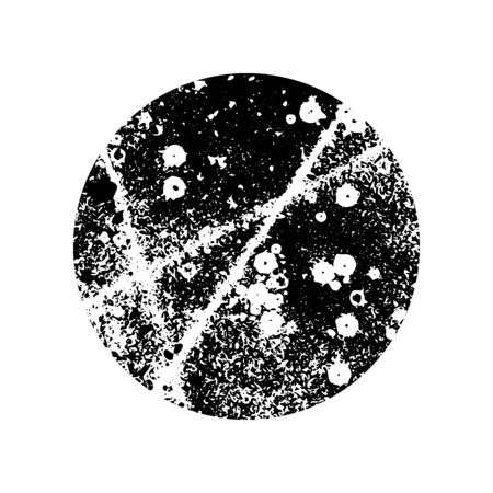 Abstract handmade artwork. Round shape, bubble, spot. Distressed texture. Ink splatter surface trace. Halftone grainy background in circle. Isolated on white. Vector stock illustration