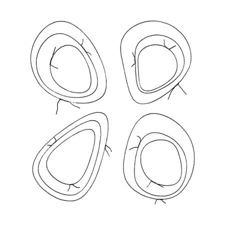 Set of abstract handmade stitched frames. Liquid geometric egg shapes, blobs in wavy design for Easter. Thread seams. Isolated on white. Vector stock illustration EPS 10