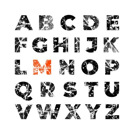 Grunge alphabet font. Abstract handmade sans serif typeface. Set of distress textured letters. Ink splatter surface trace. Vector stock illustration EPS 10. Isolated on white. Иллюстрация
