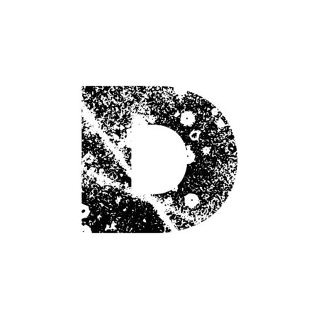 Painted letter D. Grunge alphabet font. Abstract handmade sans serif typeface. Distress textured abc. Ink splatter surface trace. Vector stock illustration EPS 10. Isolated on white.
