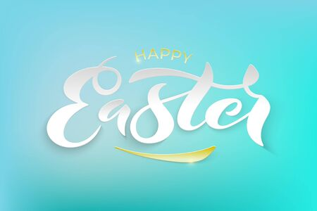 Vector stock illustration of Happy Easter text for greeting card, invitation, poster. Hand drawn lettering for Pascha holiday. Spring season greetings. Paper cut effect.