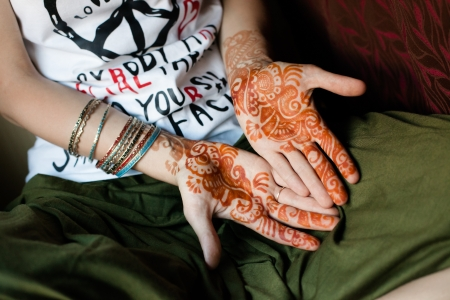 bracelet tattoo: Henna Tattoo on the palms  India Stock Photo