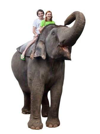 Young couple tourists to ride on an elephant in Pinnewala, Sri Lanka