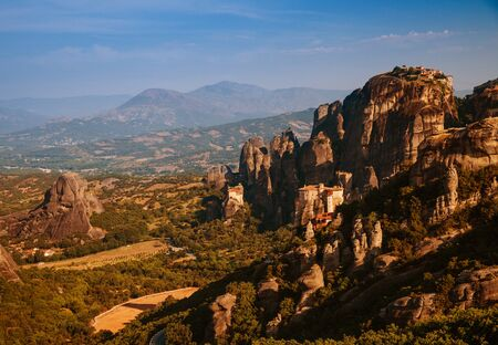 monasteries: Meteora Monasteries is one of the largest and most important complexes of Greek Orthodox monasteries in Greece Stock Photo