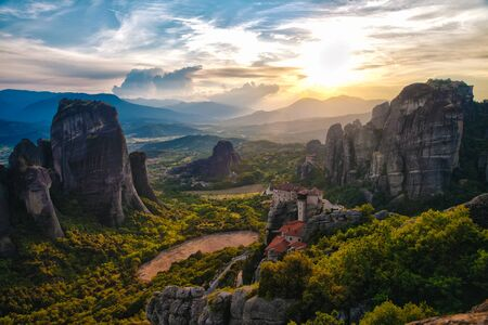 Meteora Monasteries is one of the largest and most important complexes of Greek Orthodox monasteries in Greece 스톡 콘텐츠