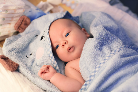 naked child: Cutest baby child after bath with towel on head