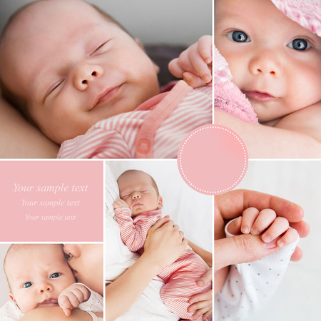 quiet baby: Collage of newborn babys photos Stock Photo