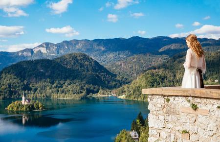karavanke: Bride    looking at Lake Bled, Slovenia