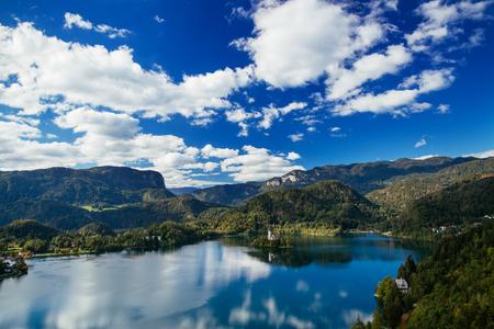 karavanke: Amazing View On Bled Lake. Springtime or summertime in Slovenia.