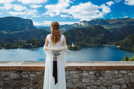 water bus: Amazing View On Bled Lake. Springtime or summertime in Slovenia.