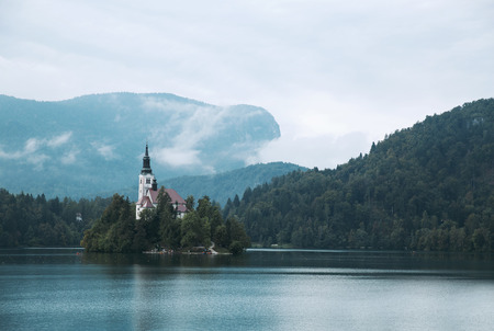karavanke: Amazing View On Bled Lake. Autumn time in Slovenia, Europe. Stock Photo