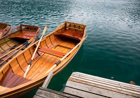 karavanke: Traditional wooden boats on Lake Bled, Slovenia. Stock Photo
