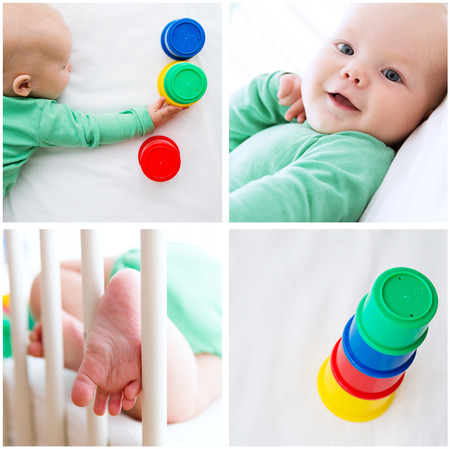 teething: Collage Photos of Baby Child Playing and Discovery. Baby playing with colorful toys. Photos of baby child development, employment and activity.