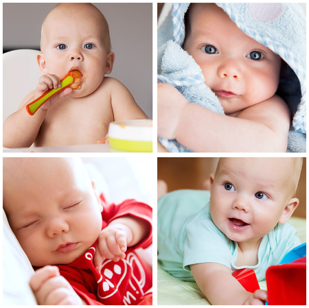 Collage of photos baby child daily routine