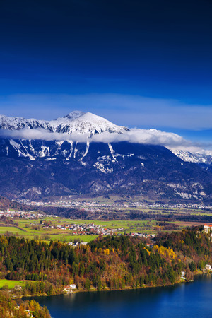 karavanke: Amazing view on small alpine villages and alps near from Bled Lake, Slovenia, Europe Stock Photo