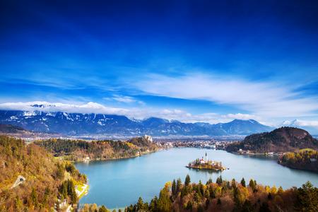 karavanke: Amazing View On Bled Lake. Autumn or Winter in Slovenia, Europe.
