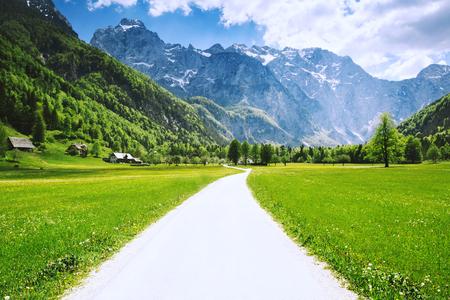 Logar valley or Logarska dolina, Slovenia, Europe. Travel, Inspiration, Freedom, Healthy Lifestyles background