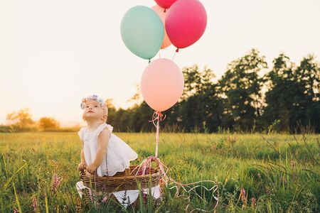 Baby girl in wicker basket with pink balloons in sunlight at summertime. Happy child on nature. First birthday party. Family celebrates one year old baby outdoors. Photo of childhood, dreams, holidays Zdjęcie Seryjne