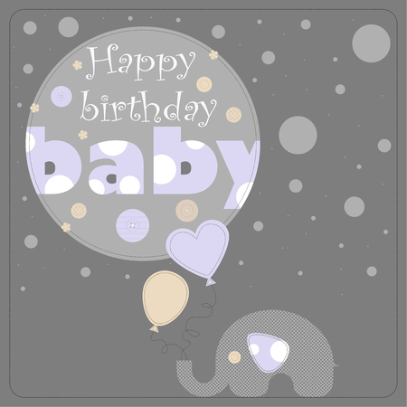 varying: Greeting card for birthday child. Depicts an elephant holding balloons and gray circles of varying size. On the largest circle the phrase happy birthday baby. Illustration