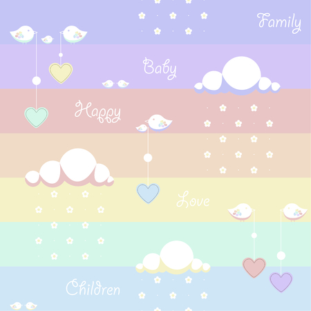 dangling: Seamless background. Depicted clouds with flowers instead of drops, birds holding a dangling heart and the words family, baby, children, happy, love on a colored background Illustration