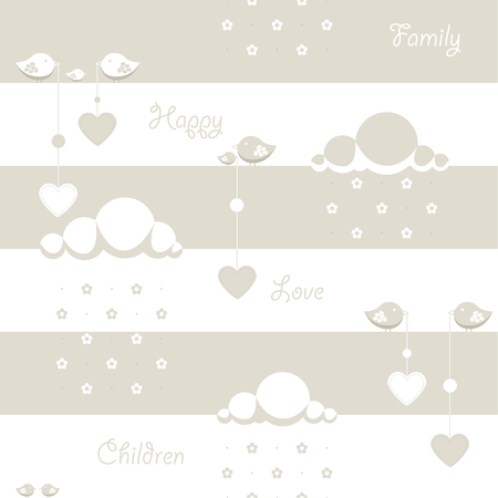dangling: Seamless background. Depicted clouds with flowers instead of drops, birds holding a dangling heart and the words family, baby, children, happy, love. There are three colors, white, beige and grey.