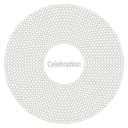 minimalist: Cover design in minimalist style.Shows small dots which in turn form a large circle. In the middle of the cover, the phrase celebration
