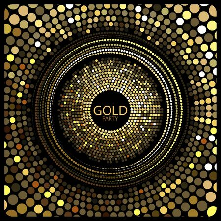 Vector. The depicted circles of different colors mimicking the effect of the glitter. Can be used as cover for greeting cards or as invitations to a disco party.The phrase gold party can be replaced. Illustration