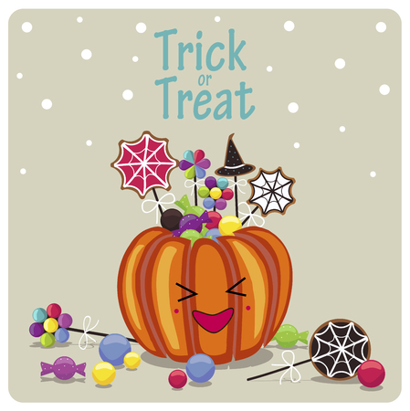 31st: Happy Halloween cover design.Laughing pumpkin, candies and the phrase trick or treat on the beige background. Illustration