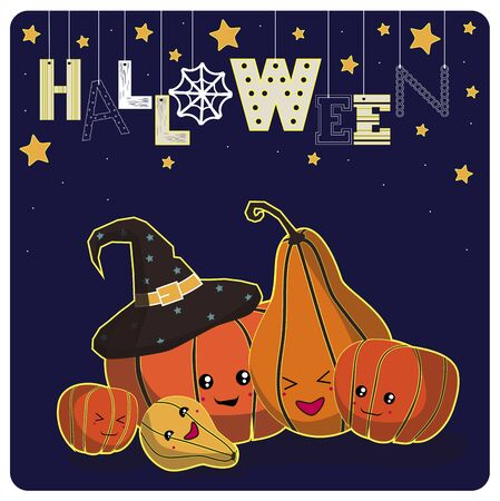 31st: Cover design.Smiling pumpkins, stars and the word halloween on the dark background.