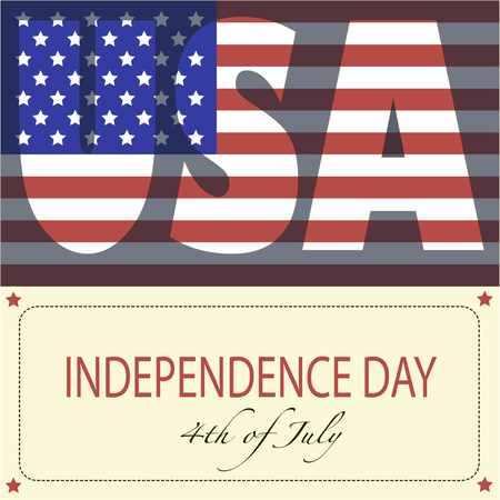 The image of the American flag and phrase Independence day, 4th of July and USA on a yellow background.