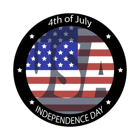 The image circle of the American flag and phrase Independence day, 4th of July and USA on a white background. Иллюстрация