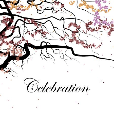 holiday celebrations: Cover design for the holiday. Shows a black branch with small petals of the red, pink and orange colors and the phrase celebration on the white background. Illustration