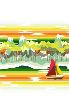 floats: The landscape. On the river floats sailing ship with red and yellow sails. On the shore of the beach, followed by forest and mountains with snowy peaks.