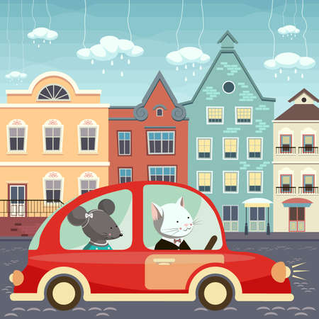 cobbled: The illustration. The cat and mouse go in the red car on the street is cobbled. Along the street there are houses of different colors. In the sky clouds with rain drops. Illustration
