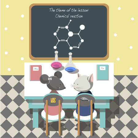 chemistry class: The illustration.The cat and mouse sitting at a school Desk in chemistry class.