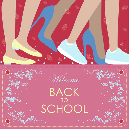 snickers: Illustration.Pictured the human legs on shoes and the phrase welcome back to school on the pink background.