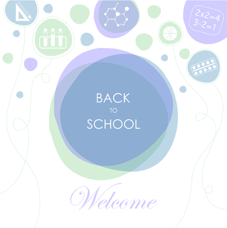 taught: Balloons with representing the subjects taught in school. The phrase back to school on the background of the three colors, blue, green and purple, and the phrase welcome on white background. Illustration