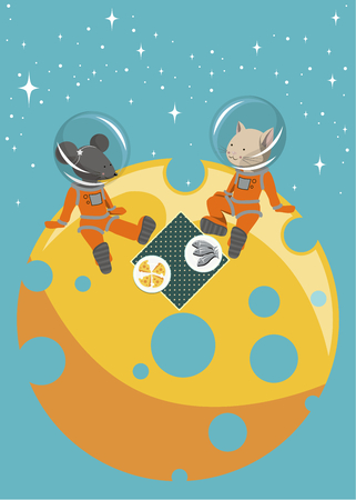 picnic cloth: The illustration. The cat and mouse sitting on the moon in spacesuits. They have a picnic on a table cloth are plates of fish and cheese.