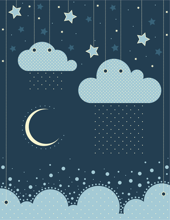 album greetings: The illustration. Clouds, sea, moon, stars, sky, rain. Can be used in the design of childrens room or album art or greetings.