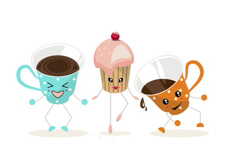 The illustration.One cup of blue color with white polka dots, cupcake with pink cream and one cup of orange color with white polka dots dance and laugh.